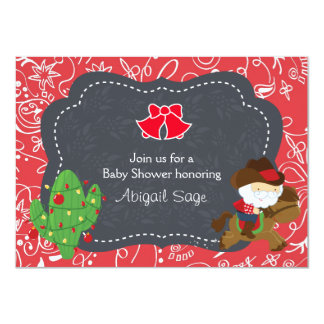 Cowboy Santa and Horse Holiday Baby Shower Invite