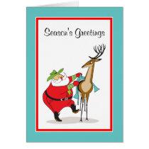Cowboy Santa and Reindeer Holiday Greeting Card