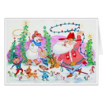 Cowboy Santa and Snowman Card