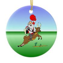Cowboy Santa Ceramic Ornament