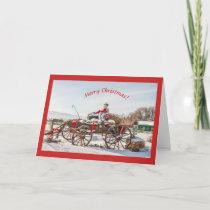 Cowboy Santa Christmas Wagon with Hay Bales Card