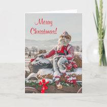Cowboy Santa Christmas Wagon with Hay Bales Holiday Card
