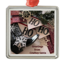 Cowboy Santa Greetings Christmas Ornament