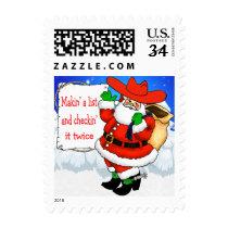 Cowboy Santa Makin' A List Postage Stamps