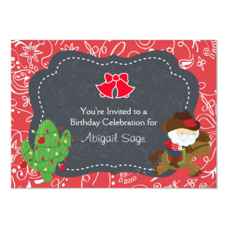 Cowboy Santa Riding Horse Holiday Birthday Invite