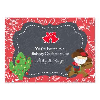 Cowboy Santa Riding Horse Holiday Birthday Invite