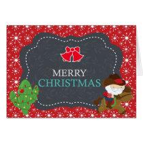 Cowboy Santa Riding Horse Western Christmas Card