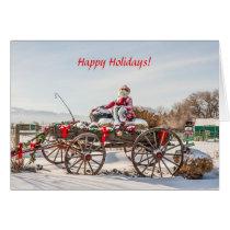 Cowboy Santa - Wagon with Hay Bales Card