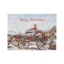 Cowboy Santa - Wagon with Hay Bales Fleece Blanket