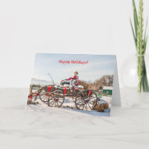 Cowboy Santa - Wagon with Hay Bales Holiday Card