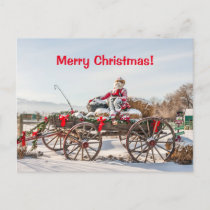 Cowboy Santa - Wagon with Hay Bales Holiday Postcard