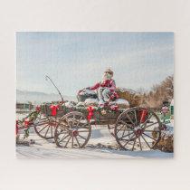 Cowboy Santa - Wagon with Hay Bales Jigsaw Puzzle