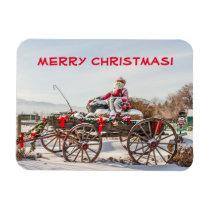 Cowboy Santa - Wagon with Hay Bales Magnet