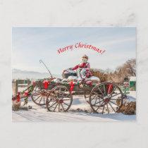 Cowboy Santa - Wagon with Hay Bales Postcard