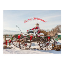 Cowboy Santa - Wagon with Hay Bales Postcard