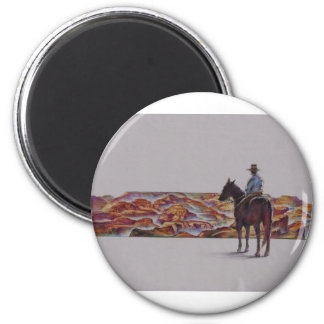 Cowboy Scenic,,, Home On The Range 2 Inch Round Magnet