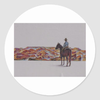 Cowboy Scenic,,, Home On The Range Round Stickers
