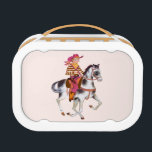 """Cowboy School Lunchbox<br><div class=""""desc"""">The old West comes alive again with this colorful western theme lunchbox featuring a handsome young cowboy,  in his best outfit,  a 6-shooter in his gun belt,  riding his horse. On the reverse is a classic western style saddle.</div>"""