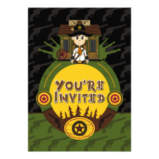 Cowboy Sheriff at Jail Party Invite