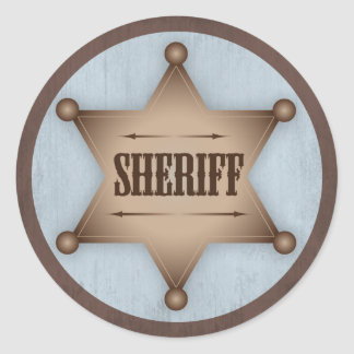Cowboy Sheriff Badge Western Baby Shower Classic Round Sticker