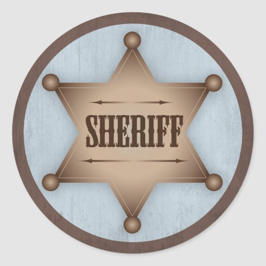 Cowboy Sheriff Badge Western Baby Shower Classic Round ...