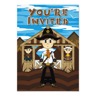 Cowboy Sheriff & Gunslingers Party Invite