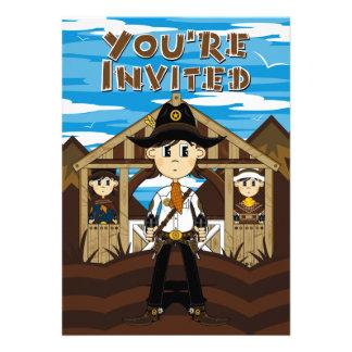 Cowboy Sheriff & Gunslingers Party Invite