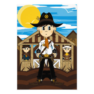 Cowboy Sheriff & Gunslingers RSVP Card Custom Announcement
