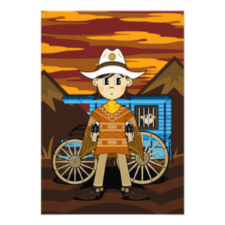 Cowboy Sheriff & Wagon RSVP Card Personalized Announcement