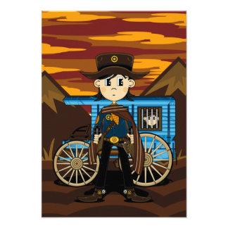 Cowboy Sheriff & Wagon RSVP Card Custom Announcements