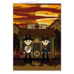 Cowboy Sheriffs at Western Jail Greeting Card