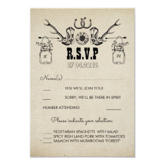 Cowboy Shoes Country Rustic Wedding RSVP Card