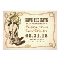 cowboy shoes country save the date cards