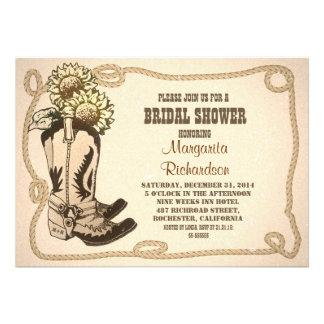 cowboy shoes rustic bridal shower invitations