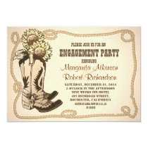 cowboy shoes rustic engagement party invitations
