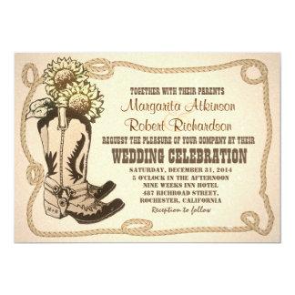 cowboy shoes rustic wedding invitations