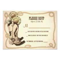 cowboy shoes rustic wedding RSVP cards