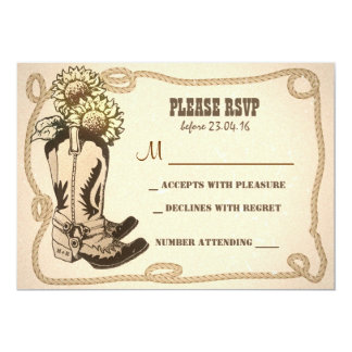 cowboy shoes rustic wedding RSVP cards