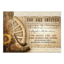 cowboy shoes sunflowers brown wood wedding invites