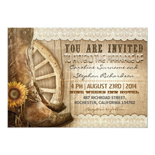 """cowboy shoes sunflowers brown wood wedding invites 5"""" X 7"""" Invitation Card"""