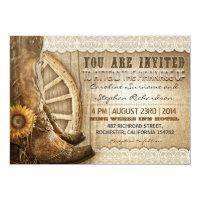 cowboy shoes sunflowers brown wood wedding invites 5&quot; x 7&quot; invitation card (<em>$2.16</em>)