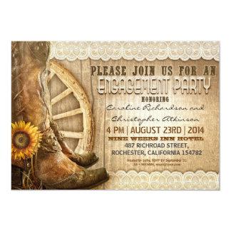 cowboy shoes sunflowers wood engagement invites
