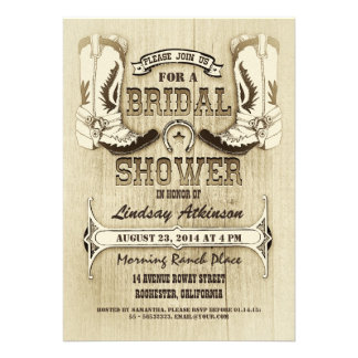 cowboy shoes western bridal shower invitations