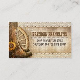Western business cards templates zazzle cowboy shoes western country business card colourmoves