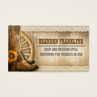 Cowboy Shoes Western Country Business Card