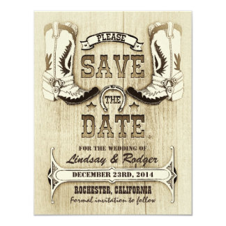 cowboy shoes western country save the date 4.25x5.5 paper invitation card