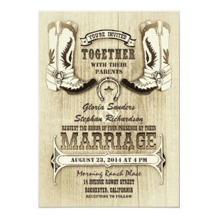 cowboy shoes western wedding invitations