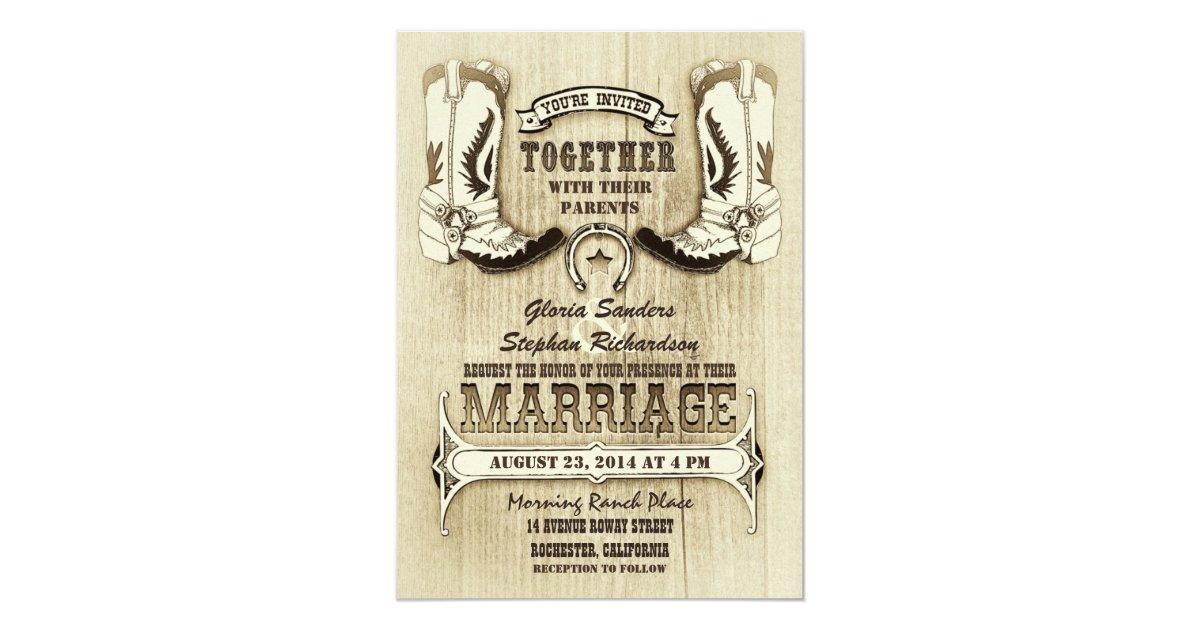 Cowboy Boot Wedding Invitations: Cowboy Shoes Western Wedding Invitations
