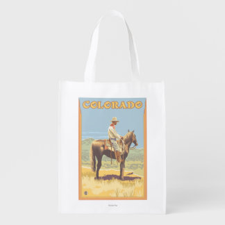Cowboy (Side View)Colorado Reusable Grocery Bag