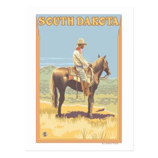 Cowboy Side View South Dakota Postcard